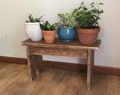 Rustic plant stand wood bench Farmhouse entryway bench Primitive farmhouse front porch plant stand bench Coffee side table