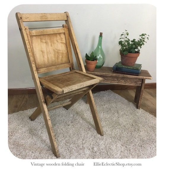 Vintage Wooden Folding Chairs.Vintage Wooden Folding Chair Antique Wood Chair Farmhouse Decor Farmhouse Furniture Entryway Decor Rustic Home Decor