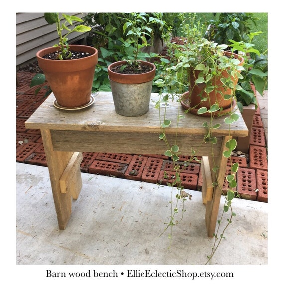 Rustic barn board garden bench | Reclaimed wood indoor outdoor plant stand  or table | Distressed barn wood farmhouse decor gift