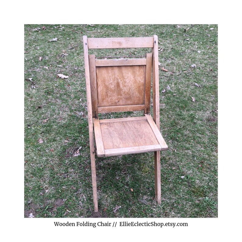 Vintage Wooden Chairs >> Vintage Wooden Folding Chair Antique Wood Chair Farmhouse Etsy