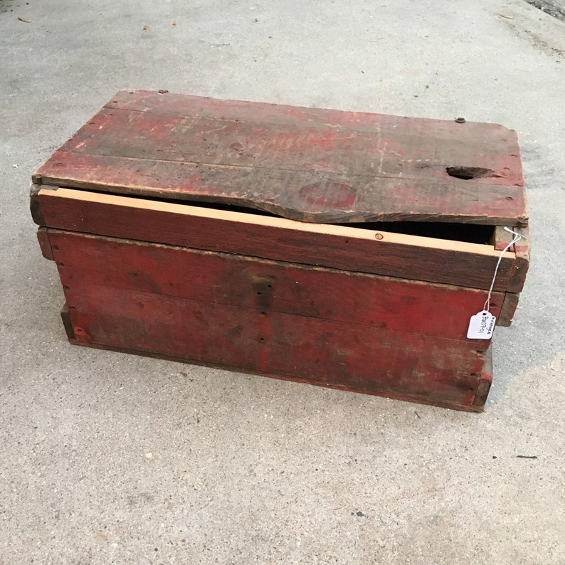 Vintage Wooden Crate Box Antique Wood Storage Box With Lid Rustic Farmhouse Organization Decor