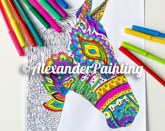 Adult Coloring Page. Horse. Cute animals. Zentangle Doodle Coloring Book Page for Adults. Instant Download Print. Digital illustration.
