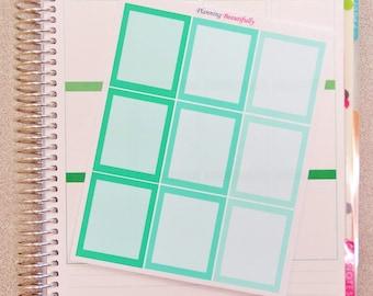 full box stickers, half box stickers, full box planner stickers, half box planner stickers, eclp stickers, checklist boxes, stickers