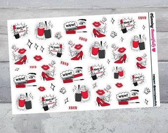 Makeup Stickers, Makeup Planner Stickers, Cosmetic Stickers, Erin Condren Planner Stickers, Beauty Stickers, Lipstick Stickers, Stickers