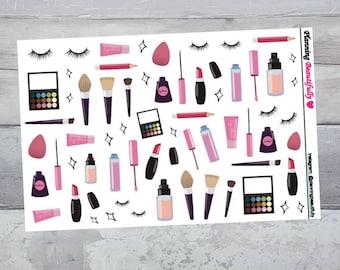 Makeup Stickers, Makeup Planner Stickers, Cosmetic Stickers, Beauty Stickers, Beauty Planner Stickers, Erin Condren Planner Stickers
