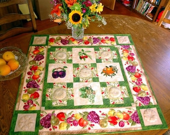 Quilted Table Topper with Fruit Embroidery