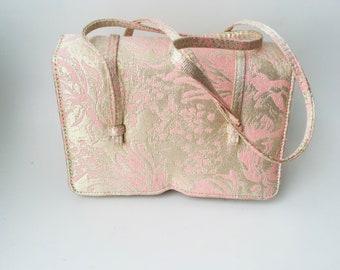 14ca0b5b2e62 Vintage Pink   Gold Brocade Jill Stuart Handbag Gold Brocade Handbag Pink  And Gold Bag Jill Stuart Purse Gold Brocade Purse Pink Evening Bag