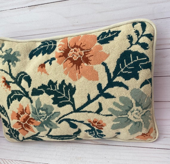 Needelopoint Pillow With Flowers