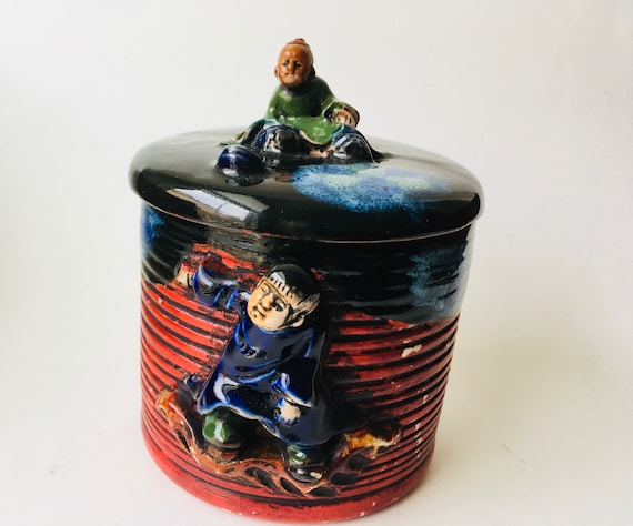 Vintage Hand Painted Japanese Art Pottery Canister