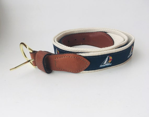 Men's Sailboat Nautical Belt Size 42