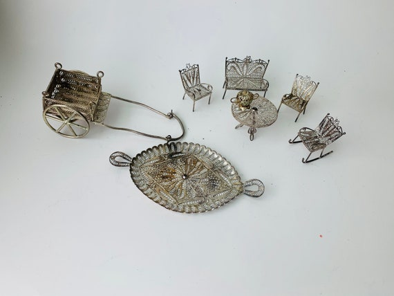 Vintage Miniature 950 Silver Doll Furniture