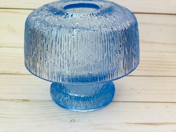 Vintage Blue Tiara Glass Fairy Lamp--Fairy Lamp