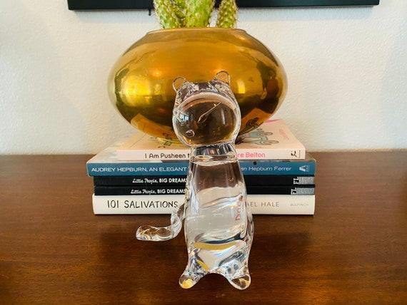 Glass Cat Paperweight—Cat Sculpture