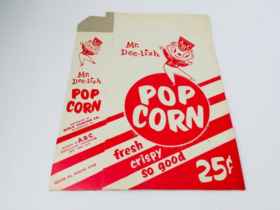 Vintage ABC Mr. Dee-lish Pop Corn Box/Vintage Box/Vintage Concessions Box/Vintage Cinema/Pop Corn/Paper Craft Supply/Assemblage Supply