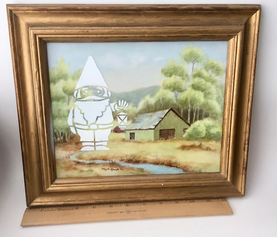 Vintage Original Plein Air Farm Painting On Porcelain With A Gnome/Vintage Barn Painting/Mountain Scene Painting/Porcelain Painting/Gnome