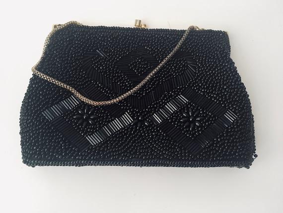 Vintage Black Beaded Kiss Lock Clutch