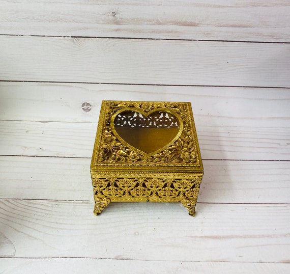 Vintage Bass And Glass Ormolu Jewelry Box--Ormolu Box--Filigree Box