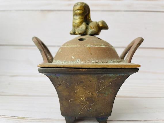 Vintage Brass Incense Burner--Brass Foo Dog