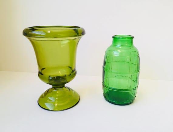 2 Vintage Green Glass Vases