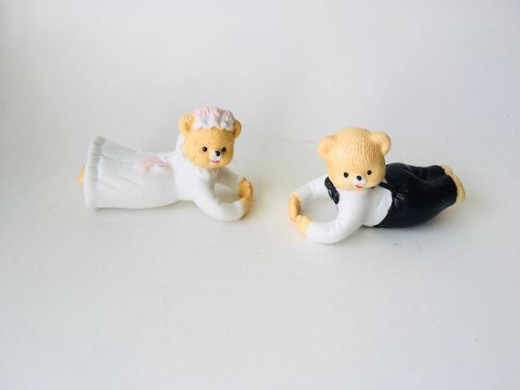Vintage Bride & Groom Bear Candle Huggers