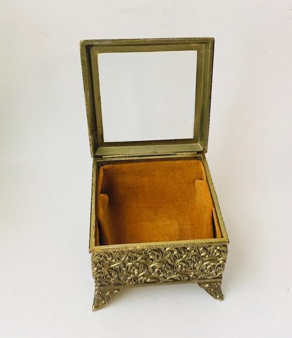 Vintage Brass & Glass Square Jewelry Casket