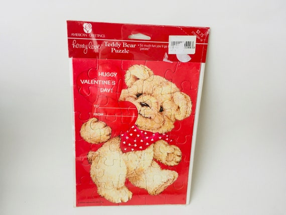 Valentine's Day Card - Vintage American Greetings - Teddy Bear Puzzle Card
