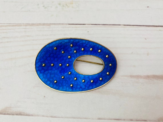 Oystein Balle 925 Sterling Norway Enamel Brooch