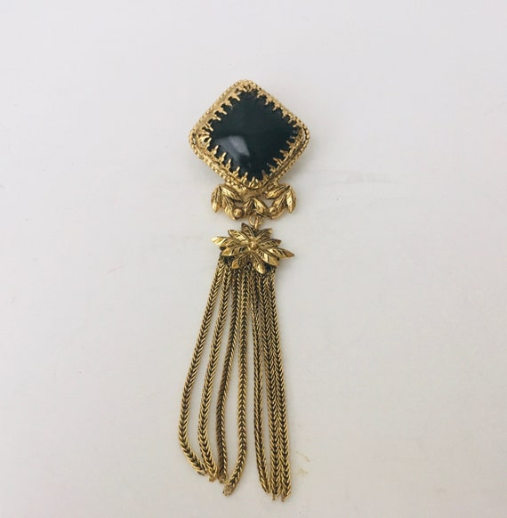 Vintage Convertible Gold Tone Tassel Brooch Pendant