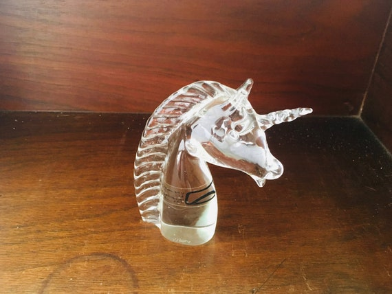 Vintage Unicorn Figurine - V. Nason & C. Murano Italy Clear Glass