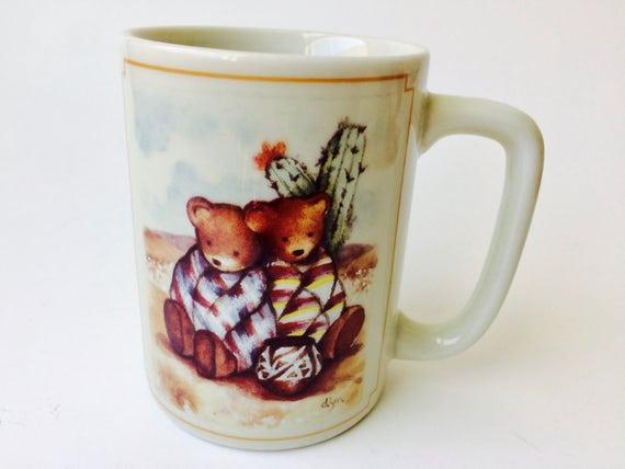 Vintage Otagiri Japan Figi Graphics Southwestern Bears Mug