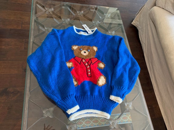 Vintage Teddy Bear Sweater Made In Korea Size S