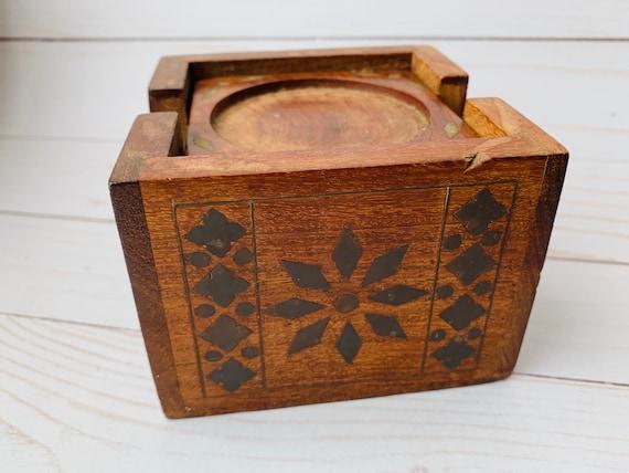 Vintage Wood & Brass Inlay Coasters