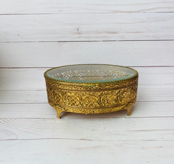 Vintage Brass Ormolu Jewelry Box - Vintage Glass  Ormolu Filigree Jewelry Box