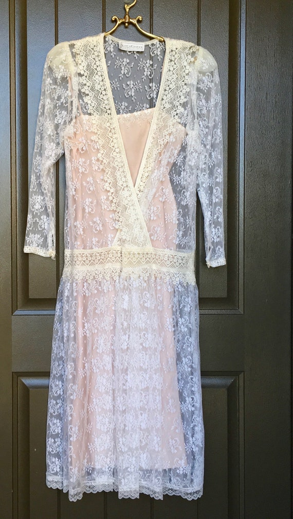 Scott McClintock Ivory Lace Dress Size 8