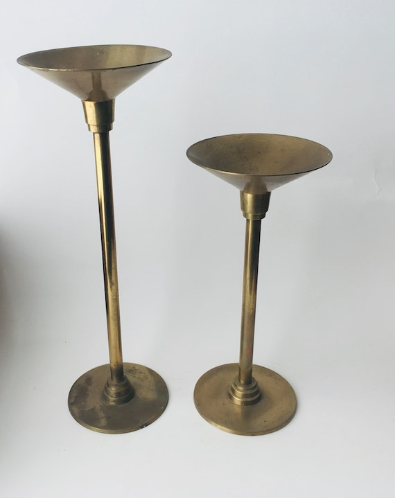 Vintage Pair Of Brass Art Deco Style Taper Candle Holders