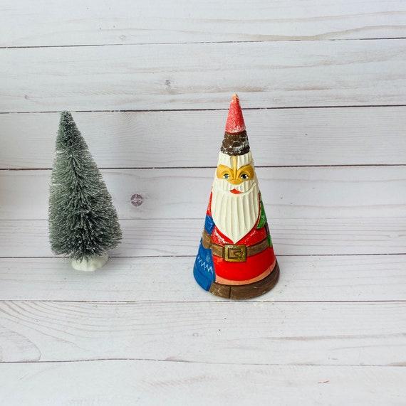 Vintage Carved Wood Santa--Wooden Santa--Cone Shaped Santa