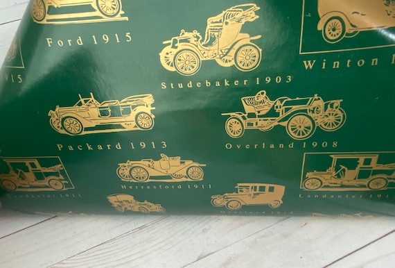 Vintage Ford Cars Gift Wrap Paper--Classic Cars Gift Wrap--Old Cars Gift Wrap Paper