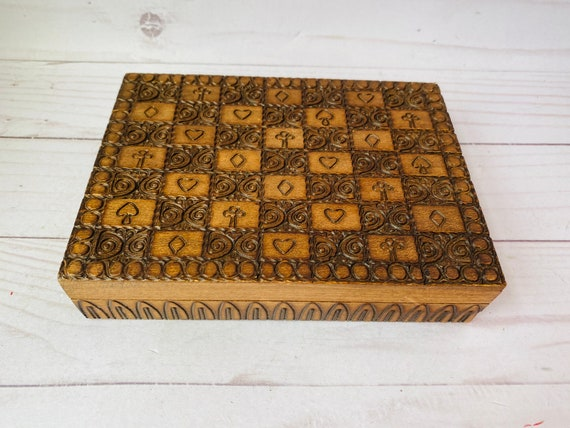 Vintage Wooden Card Box--Vintage Wooden Box--Deck Of Cards Box--Game Room Decor--Man Cave Decor