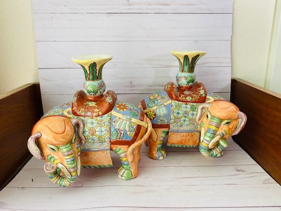 Vintage Pair Of Famille Rose Elephant Candle Holders--Vintage Ceramic Elephants--Animal Shaped Candle Holders