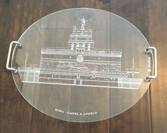 Vintage Lucite Serving Tray With Castel S. Angelo In Rome/MEMORIE DI ARCHITETTURA/Lucite Tray/Rome/Italy/Vintage Italy/Vintage Souvenir
