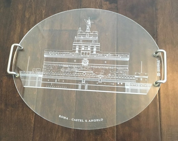 Vintage Lucite Serving Tray With Castel S. Angelo In Rome
