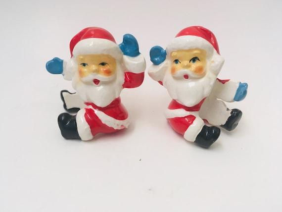 Vintage Ceramic Santa Christmas Candle Huggers