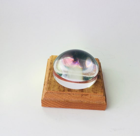 Vintage Wood & Lucite Paperweight