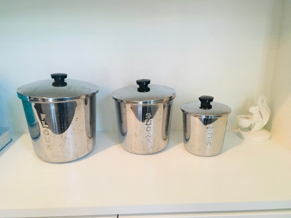 Vintage Set Of 3 Everedy Metal Kitchen Canisters