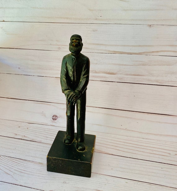 Vintage Carved Wood Sailor Statue- Carved Wood Statue- Old Man Statue