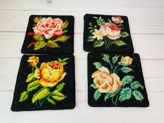 Vintage Rose Needlepoint Coasters--Black Coasters--Floral Coasters