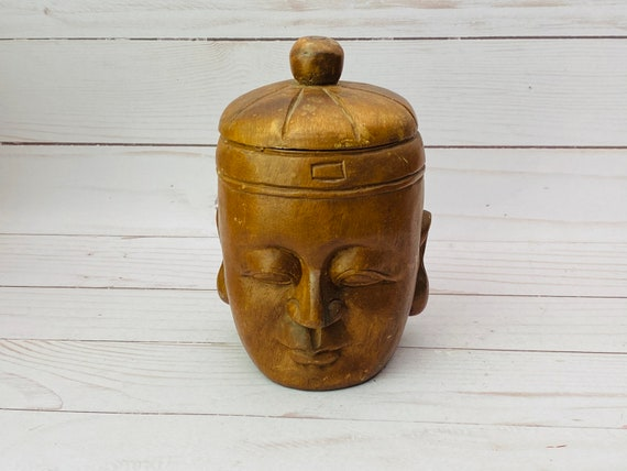 Wood Carved Asian Humidor- Carved Wood Head Box