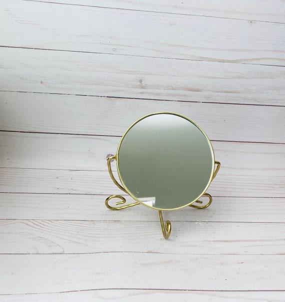 """Vintage 4 3/4"""" Round Gold Makeup Mirror"""
