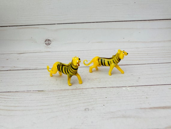 Pair of Glass Tiger Figurines