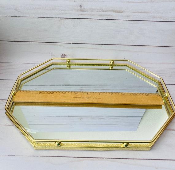 "Vintage 13"" Oval Goldtone Mirror Vanity Tray/Mirrored Tray/Vanity Tray/Bathroom Tray/Makeup Tray/Display Tray/Hollywood Regency/Oval Tray"